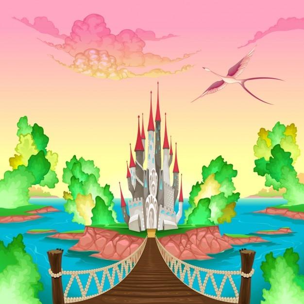 Fantasie landschap met kasteel ergens in mij vector illustratie Gratis Vector
