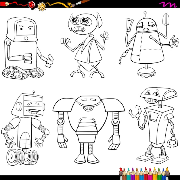 Fantasie Robots Cartoons Kleurplaat Vector Premium Download