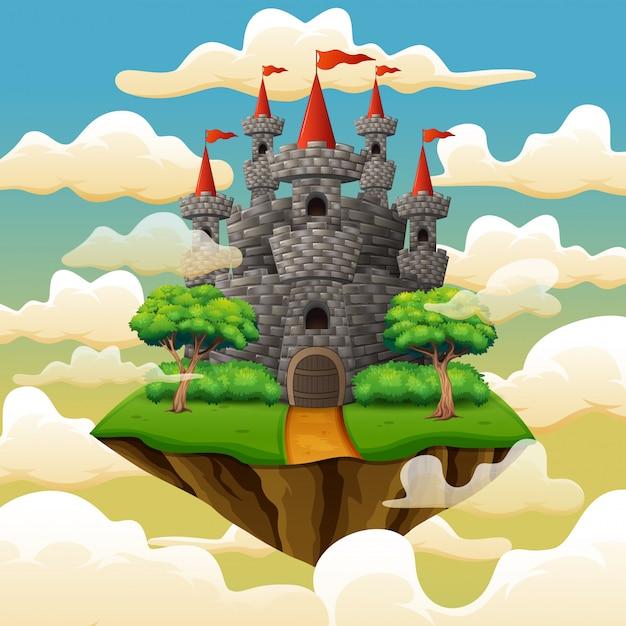 Fantasie vliegend eiland met sprookjekasteel in wolken Premium Vector