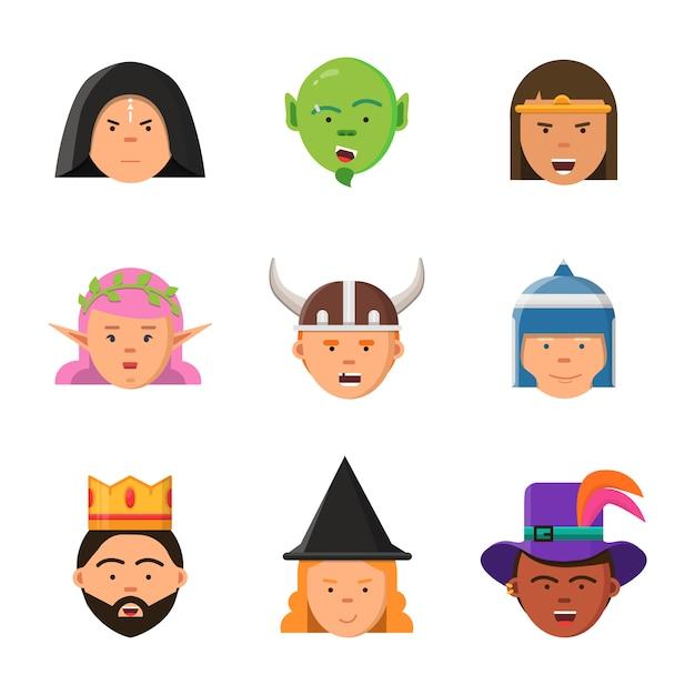 Fantasiespel avatars. sprookjesfiguren elf tovenaar koning krijger goblin prinses portretten Premium Vector