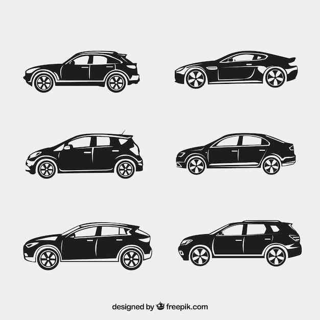 Fantastic silhouetten van auto's Gratis Vector