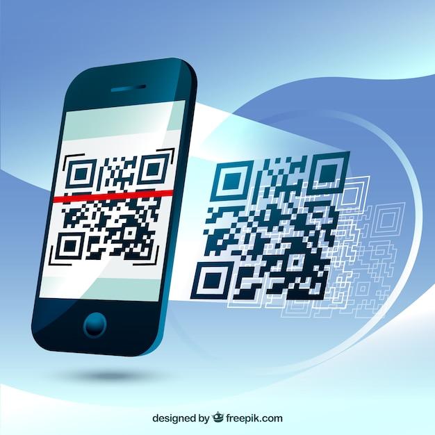 Fantastische achtergrond van de mobiele telefoon het scannen van een qr-code Gratis Vector
