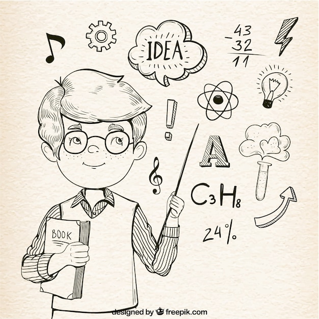 Fantastische achtergrond van slimme jongen met een verstandelijke elementen Gratis Vector