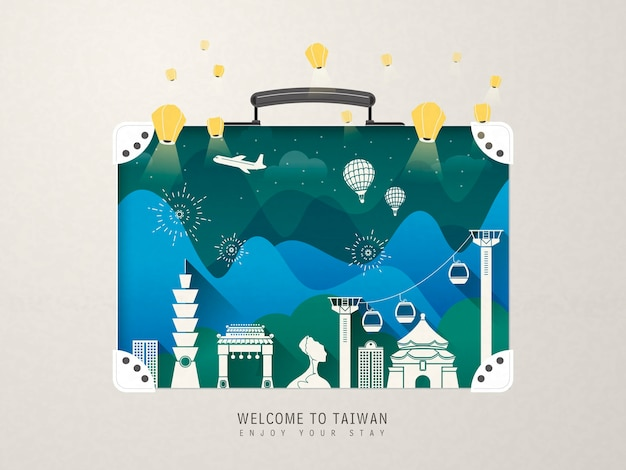 Fantastische attracties in taiwan - oriëntatiepunten de koffer Premium Vector