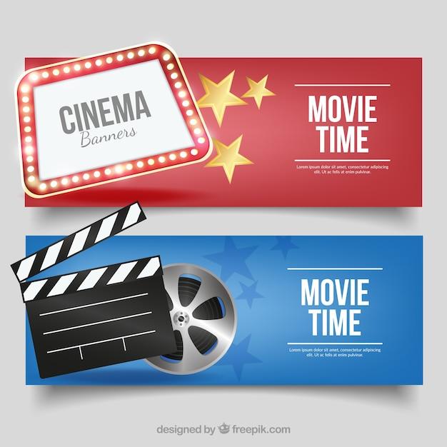 Fantastische cinema banners met decoratieve artikelen Gratis Vector