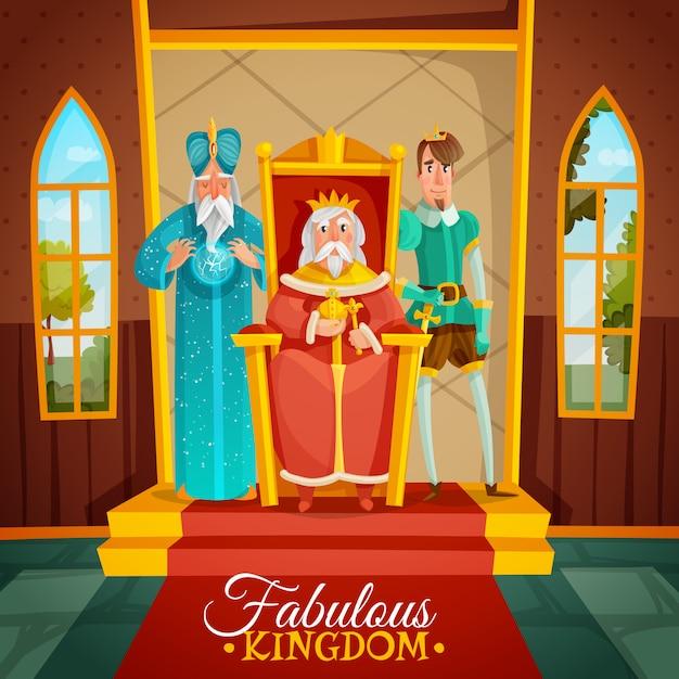 Fantastische koninkrijk cartoon afbeelding Gratis Vector