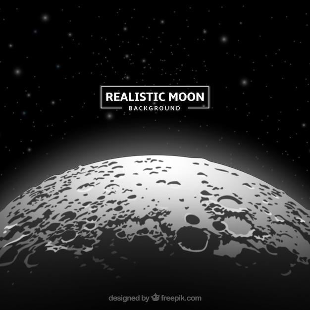 Fantastische maan achtergrond in realistische ontwerp Gratis Vector
