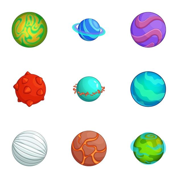 Fantastische planeten set, cartoon stijl Premium Vector