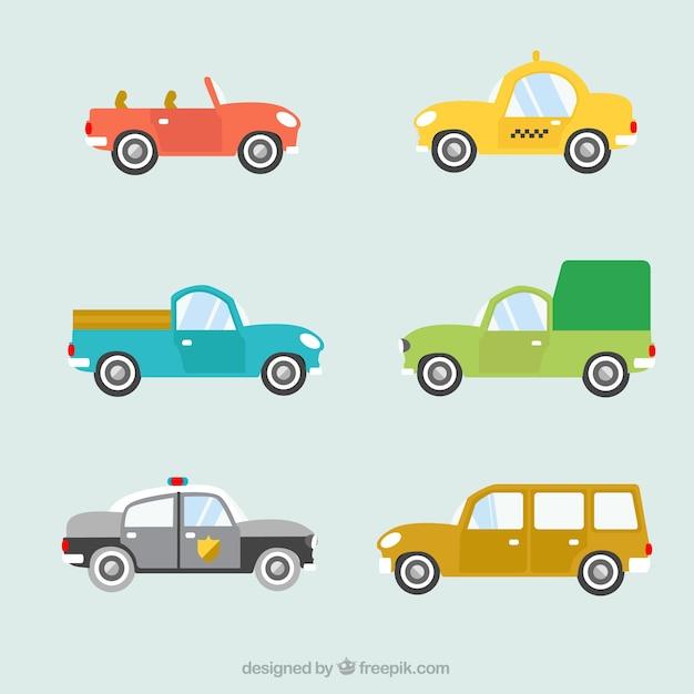 Fantastische Selectie Van Gekleurde Auto S Gratis Vector