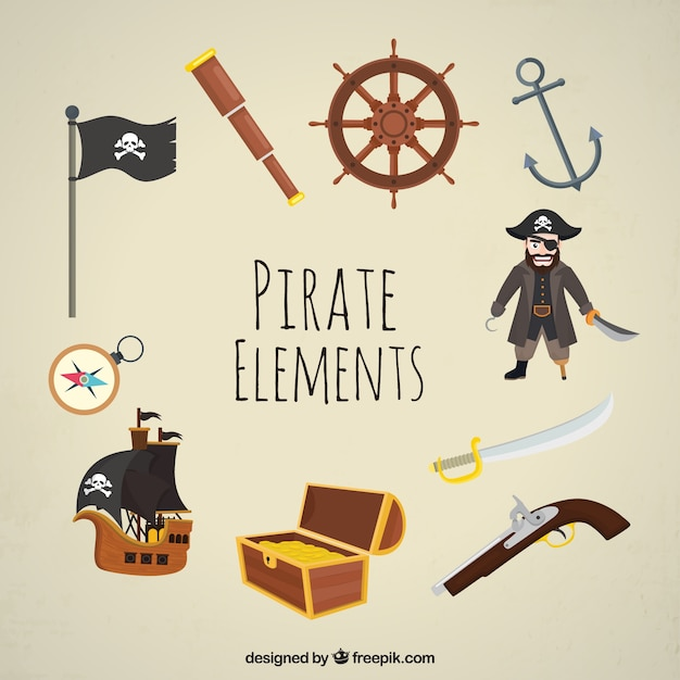 Fantastische set van decoratieve piratenelementen Gratis Vector
