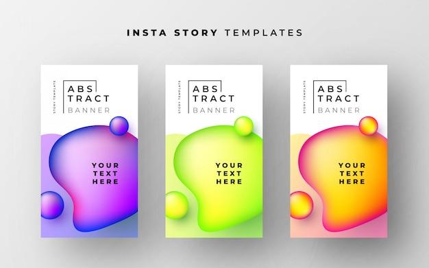 Fantastische sjablonen met instagramovertellingen met abstracte vloeibare vormen Gratis Vector