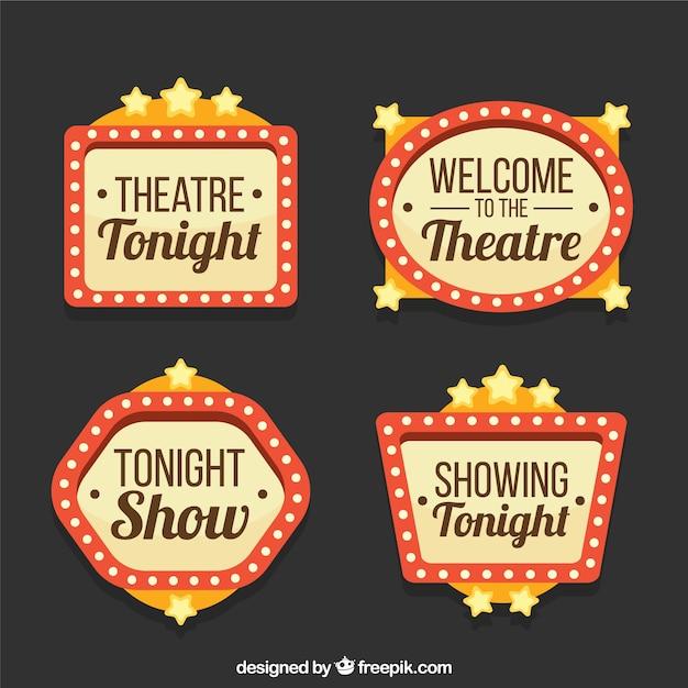 Fantastische theater borden met decoratieve sterren Gratis Vector