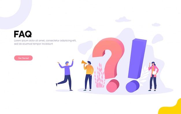 Faq en qna-afbeelding, personen personages staan naast vraagtekens. vrouw en man online ondersteuningscentrum. vlakke afbeelding, bestemmingspagina, sjabloon, ui, web Premium Vector