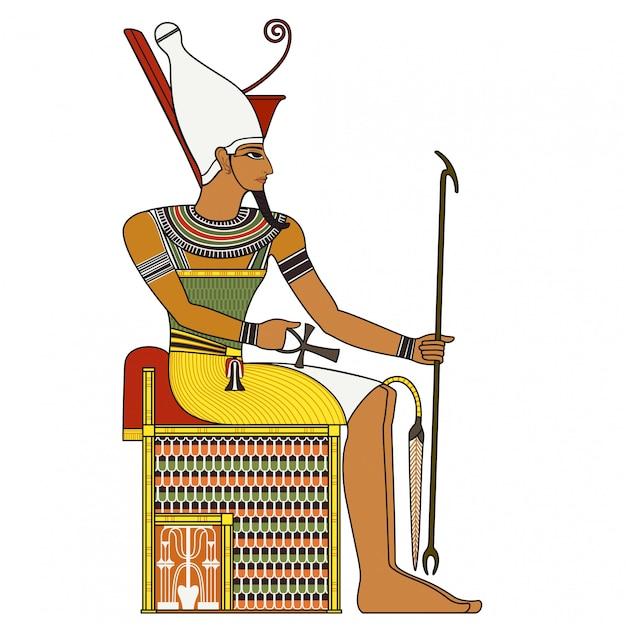 Farao, geïsoleerde figuur van de oude farao van egypte Premium Vector