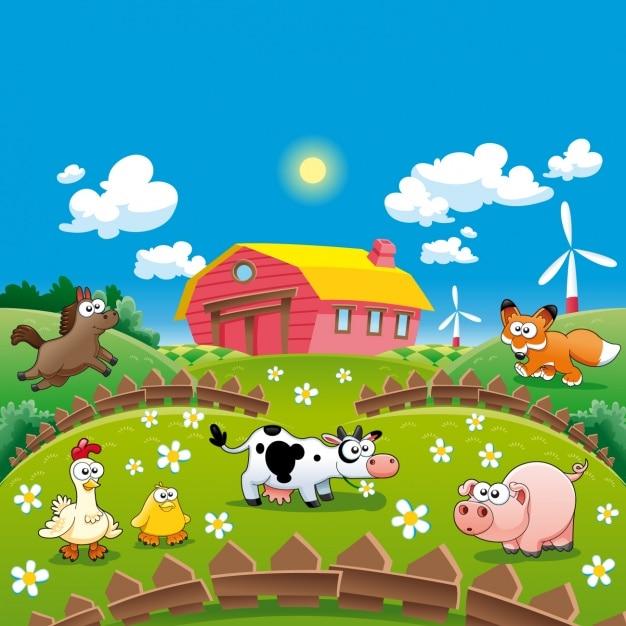 Farm achtergrond ontwerp Gratis Vector