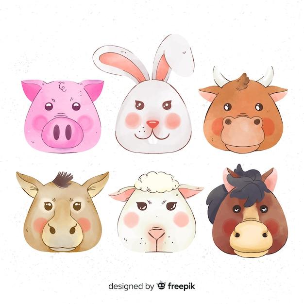 Farm animal collectio Gratis Vector