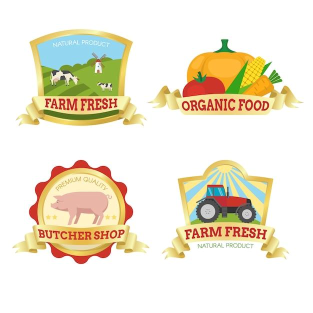 Farm food kleurrijke emblemen Gratis Vector