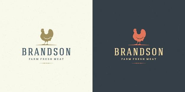 Farm logo vector illustratie kip silhouet goed voor slagerij of restaurant badge Premium Vector