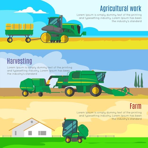 Farm machines horizontale banners set Gratis Vector