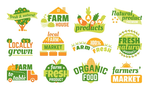 Farm market labels set van illustraties, banners en linten voor biologische, verse en boerenproducten. groen vegetarisch logo, landbouwemblemen van topkwaliteit. stickers van natuurlijke producten. Premium Vector