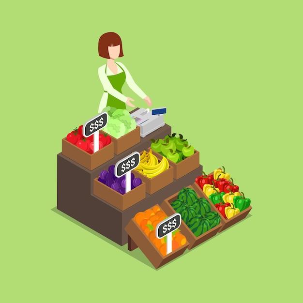 Farm verse eco groene kruidenierswinkel veganistische winkelmarkt Gratis Vector