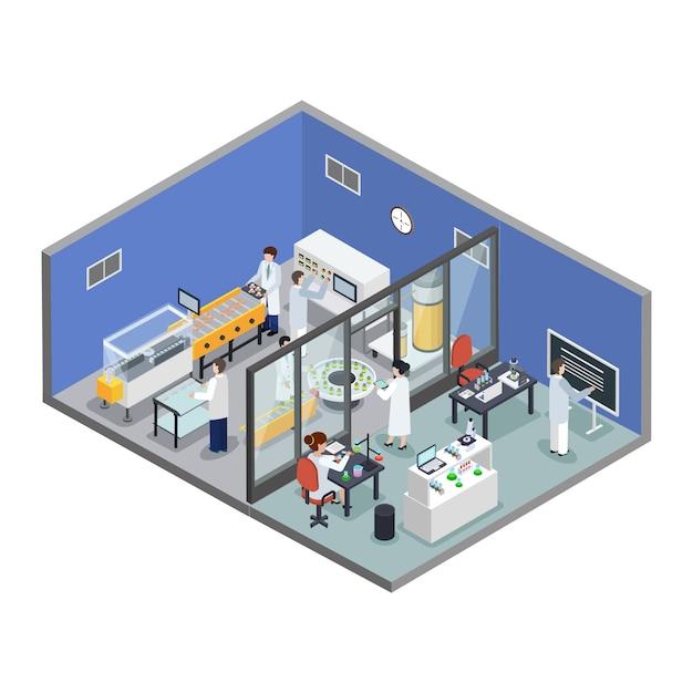 Farmaceutisch onderzoek productie isometrische samenstelling Gratis Vector