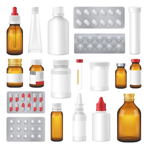 Farmaceutische flessen pakketten pillen realistische set Premium Vector