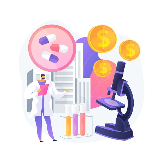 Farmacologische zakelijke abstract concept vectorillustratie. farmacologische industrie, farmaceutisch bedrijf, geneeskundig onderzoek en productie, apotheeknetwerk, abstracte metafoor voor bedrijven. Gratis Vector