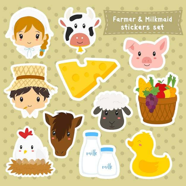 Farmer and milkmaid stickers collection Premium Vector
