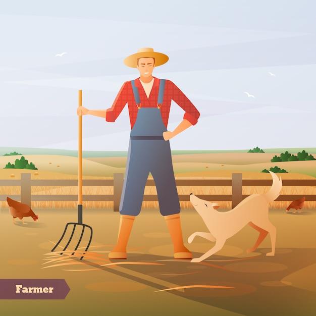 Farmer at paddock flat composition Gratis Vector