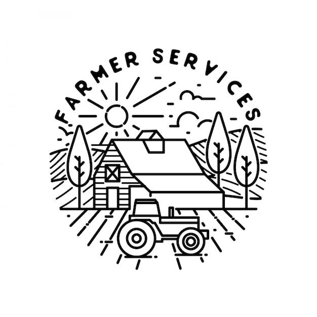 Farmer services monoline-insigne Premium Vector