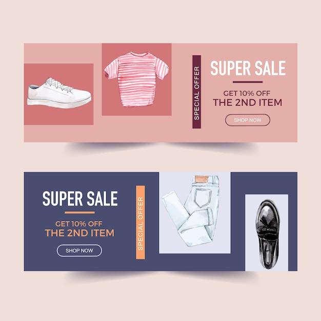 Fashion bannerontwerp met t-shirt, jeans, sokken, sneakers Gratis Vector
