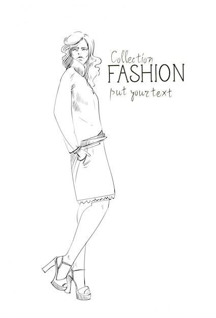 Fashion collectie van kleding vrouwelijk model trendy kleding schets dragen Premium Vector