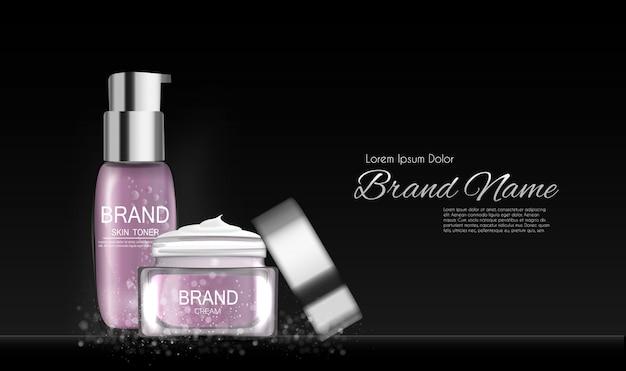 Fashion design make-up cosmetica product. 3d-realistisch Premium Vector