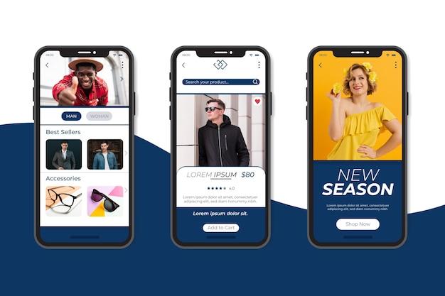 Fashion shopping app-collectie Gratis Vector