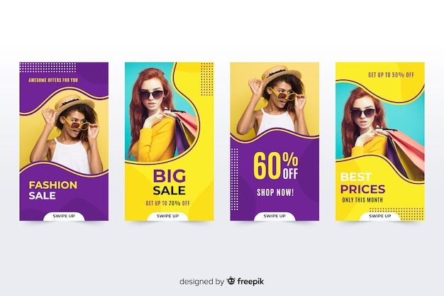 Fashion verkoop instagram verhalen met foto Gratis Vector
