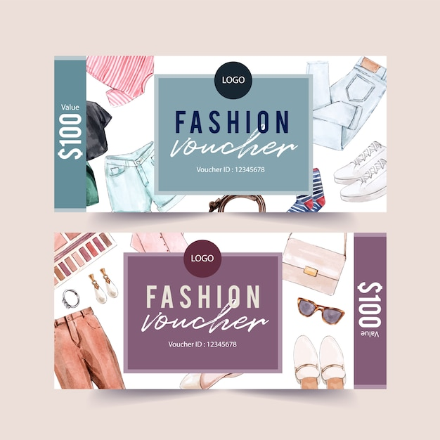 Fashion voucher ontwerp met accessoires en outfit aquarel illustratie. Gratis Vector