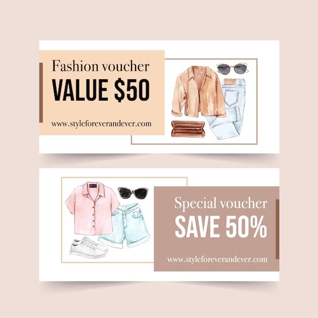 Fashion voucher ontwerp met jas, tas, jeans, zonnebril, schoenen aquarel illustratie. Gratis Vector