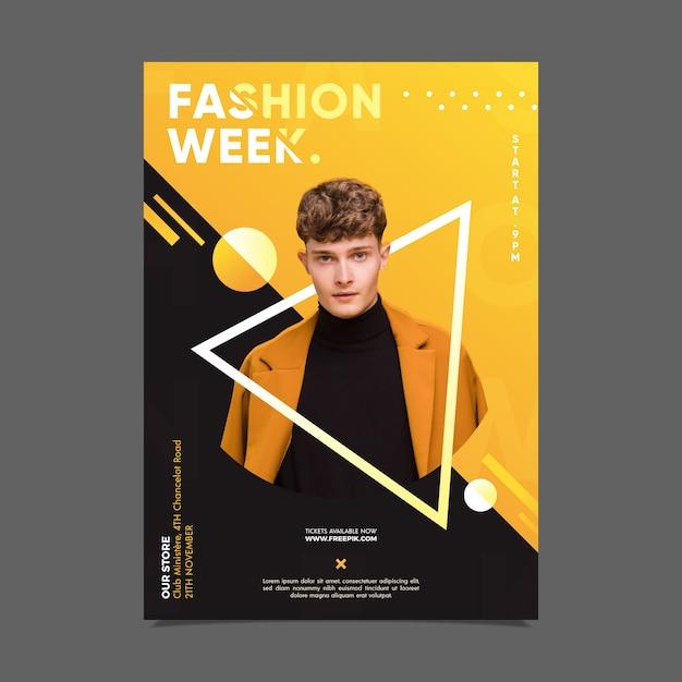 Fashion week poster met foto Gratis Vector