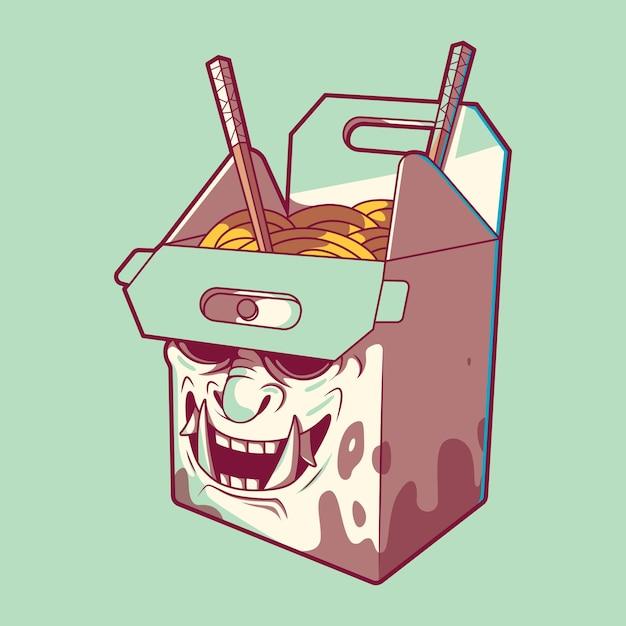 Fast food box samurai illustratie. fast food, levering, grappig ontwerpconcept. Premium Vector