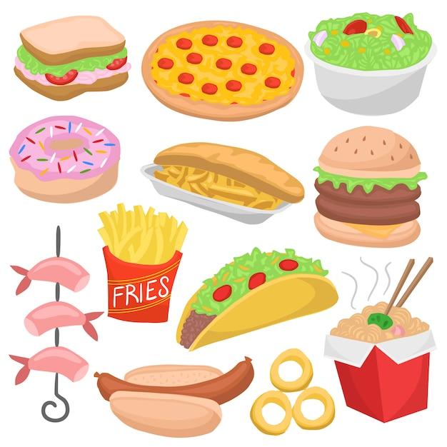 Fast food doodle kleur menu icon restaurant maaltijden Premium Vector