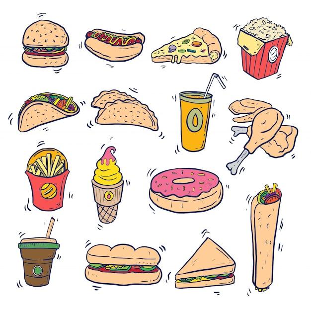 Fast food doodle kunst ingesteld op geïsoleerd Premium Vector