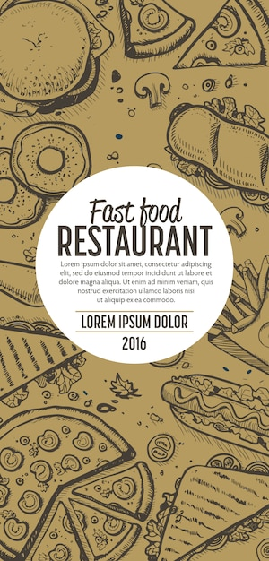 Fast-food doodles verticale banner menu Premium Vector