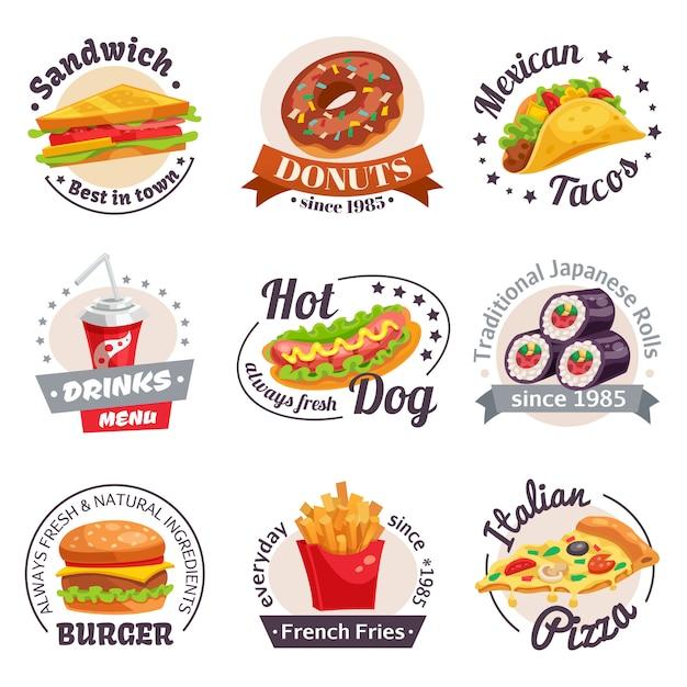 Fast food-etiketten instellen Gratis Vector