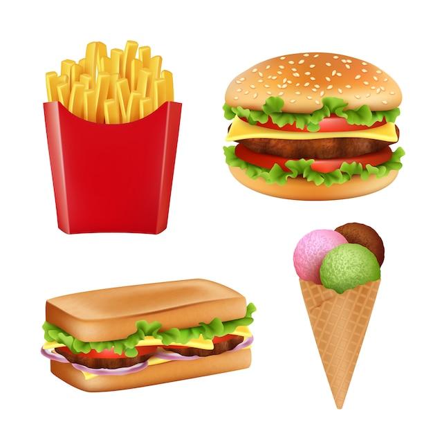 Fast-food foto's. hamburger sandwich frietjes ijs en koude dranken brood 3d realistische illustraties geïsoleerd Premium Vector