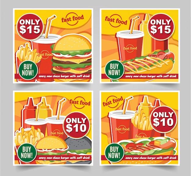 Fast-food hamburger, fast-food maaltijden banners smakelijke set fastfood vector Premium Vector