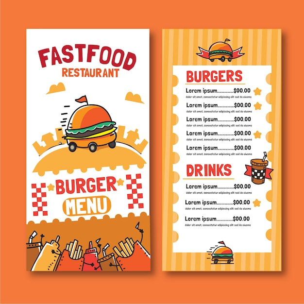 Fast-food hamburger menusjabloon Gratis Vector