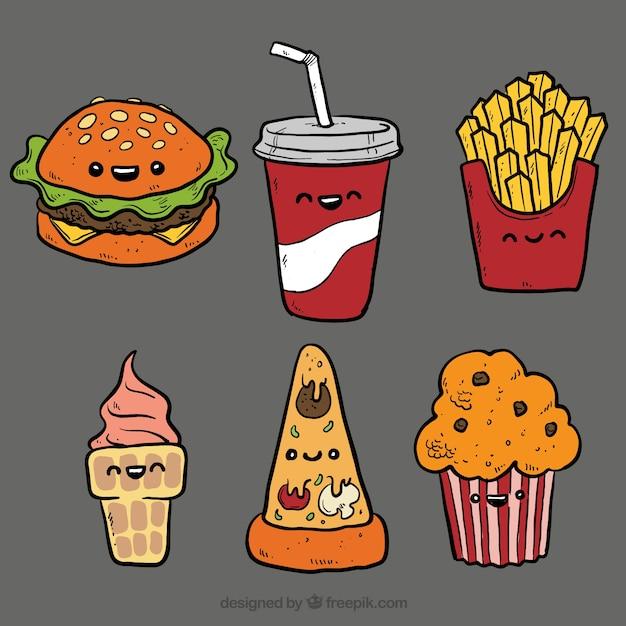 Fast food illustraties Gratis Vector