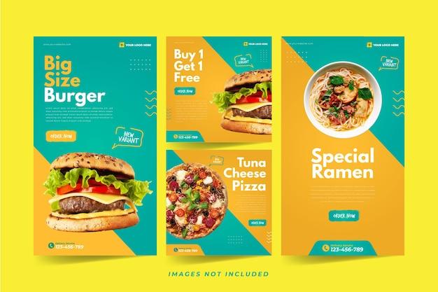Fast food instagram-sjabloon voor sociale media Premium Vector