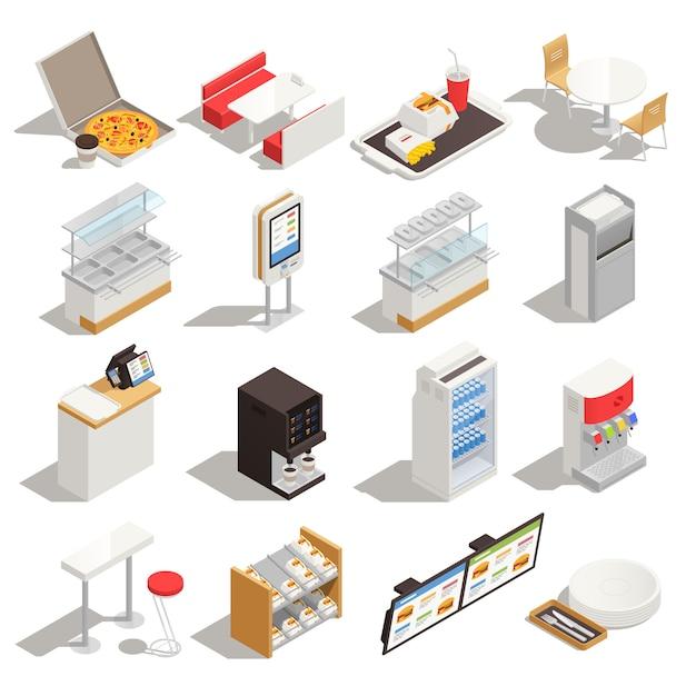 Fast-food isometrische set met elementen van zelfbedieningsrestaurant interieur meubilair apparatuur en menu geïsoleerd Gratis Vector